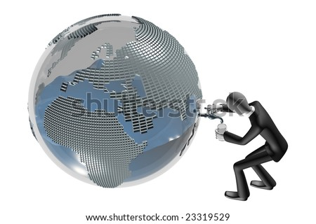 business man and global crisis concept of natural resources fuel, oil, water 3d image isolated on white background