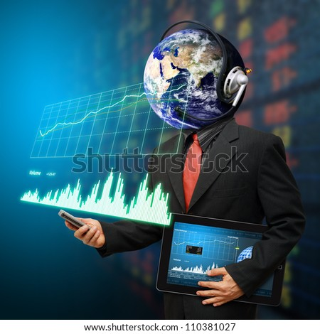 Business man and graph report : Elements of this image furnished by NASA