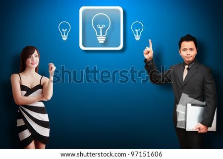 Business man and his secretary got idea