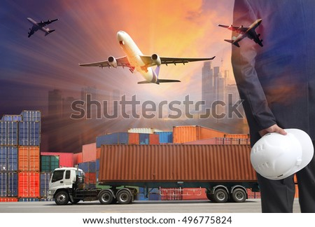 business man and Industrial Container Cargo freight ship for Logistic Import Export concept