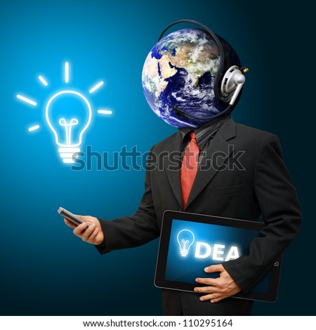 Business man and light bulb : Elements of this image furnished by NASA