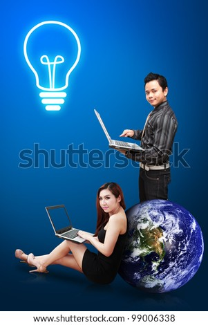 Business man and secretary got idea : Elements of this image furnished by NASA