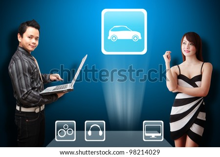 Business man and secretary look at the Car icon