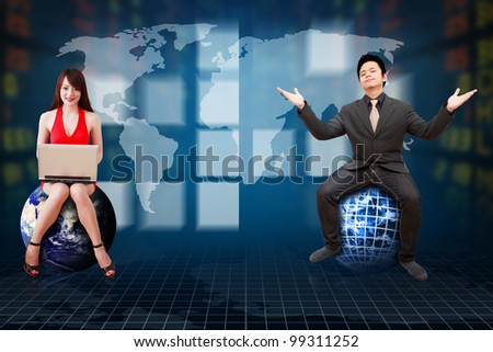 Business man and secretary present the stock exchange graph report  : Elements of this image furnished by NASA