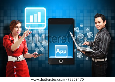 Business man and secretary touch the Graph icon from mobile phone