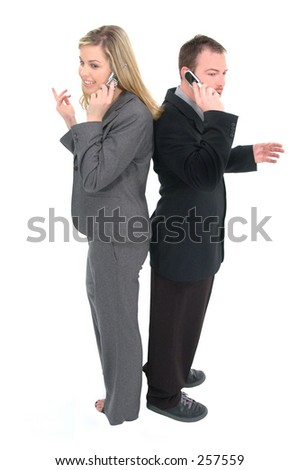Business man and woman back to back talking on cell phones, isolated over white