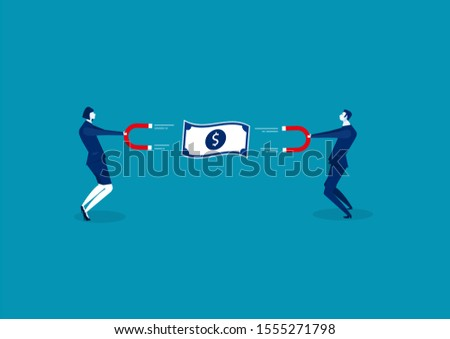 Business man and woman holding a big magnet and attracting money. Investment attraction concept.
