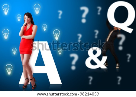 Business man and woman on Question and answer background