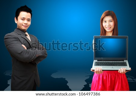 Business man and woman on world map background