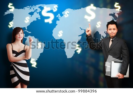 Business man and woman present the money profit on world map background