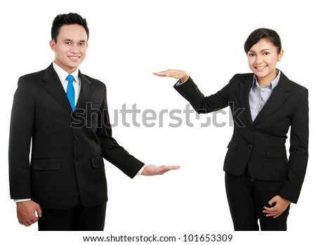 Business man and woman presenting over a white background