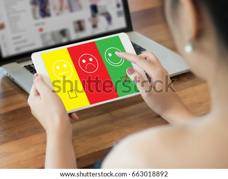 business man and woman select happy on satisfaction evaluation? And good mood smiley #663018892