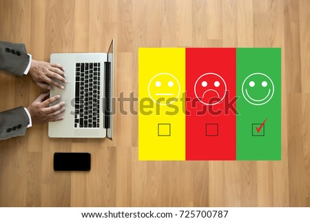 business man and woman select happy on satisfaction evaluation? And good mood smiley and evaluate #725700787