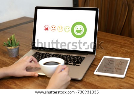 business man and woman select happy on satisfaction evaluation? And good mood smiley and evaluate #730931335