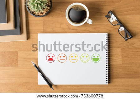 business man and woman select happy on satisfaction evaluation? And good mood smiley and evaluate #753600778