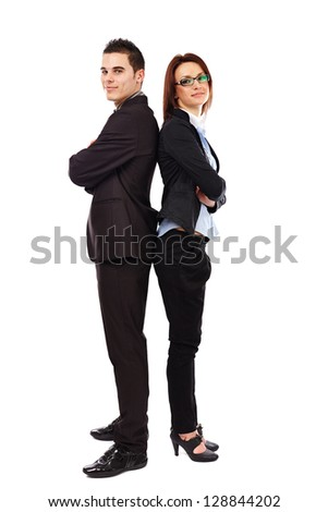 Business man and woman standing back to back isolated on white background. Teamwork concept