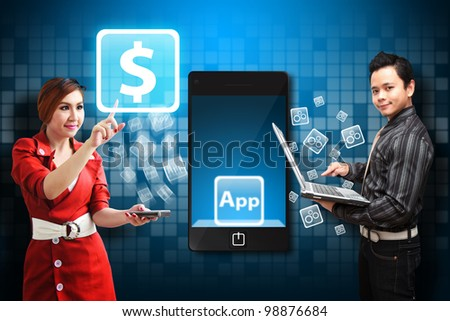 Business man and woman touch the money icon from mobile phone