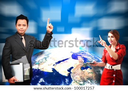 Business man and woman touch the windows explode from earth : Elements of this image furnished by NASA