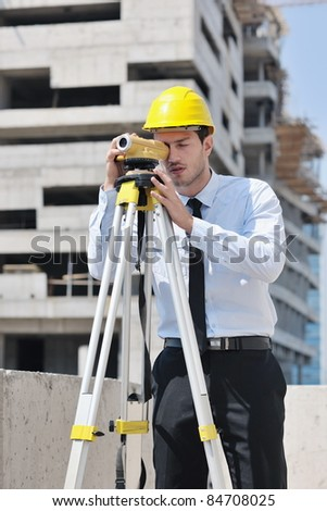 business man Architect engineer manager at construction site project - stock photo