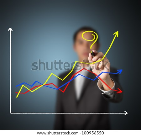 business man asking question - How to make the different success ?  by writing question mark on highest growth financial graph