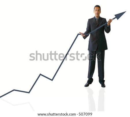business man carrying a graph