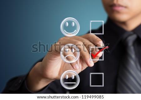 business man check box unhappy mood