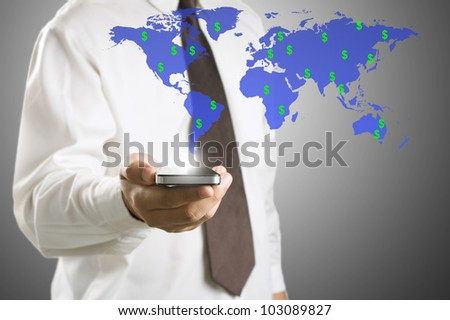 Business man checking income money in dollar sign by using smart phone