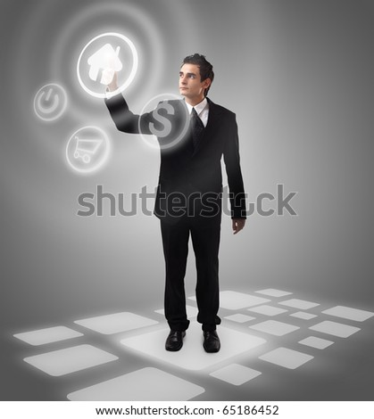 Business man choosing home button, futuristic digital technology