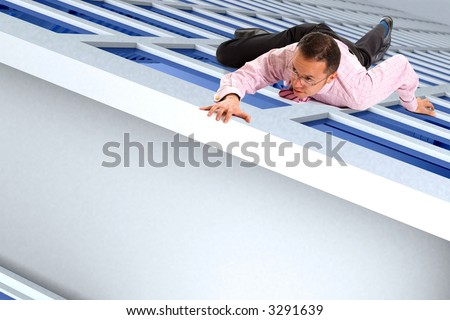 business man climbing a building almost reaching the top