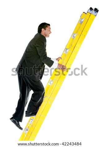 Business man climbing a ladder isolated over a white background