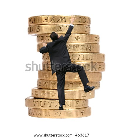 business man climbing some pound coins