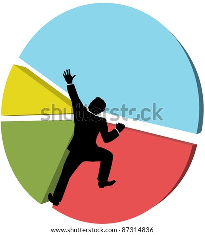 Business man climbs up a pie chart to strive for bigger piece of market share - stock photo