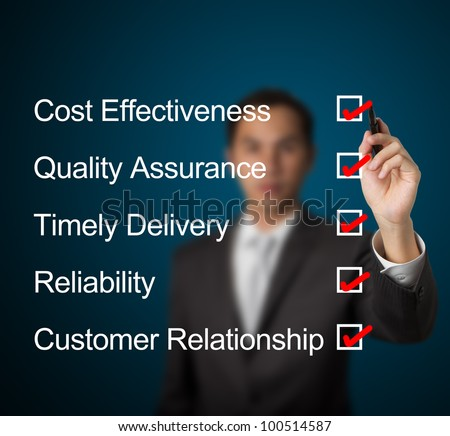 business man complete the answer for high performance product and service industry