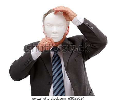 Business man covering his face with white mask