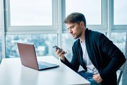 Business man desktop laptop Internet technology Professional
