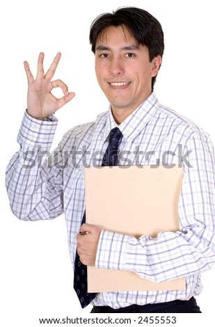 business man doing a good job signal with his hand over a white background