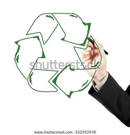 Business man draw recycle recycling sign
