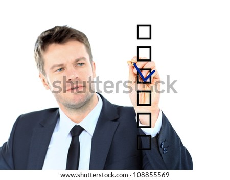 business man draw with marker on empty copy space isolated on white