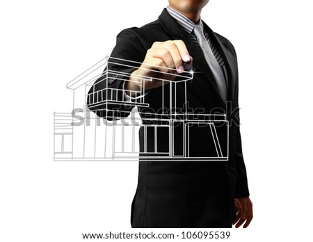 Business man drawing a house