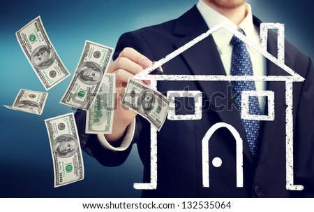 Business man drawing a house illustration and flying hundred dollar bills