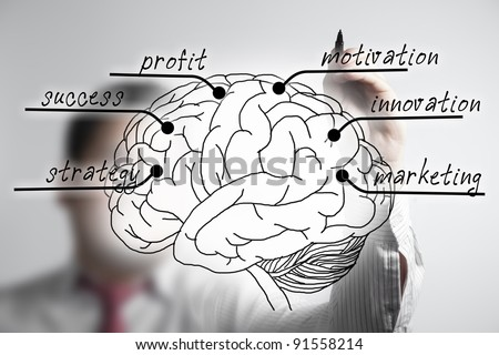business man drawing brain of  marketing strategy