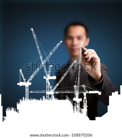 business man drawing construction site project ( building development )