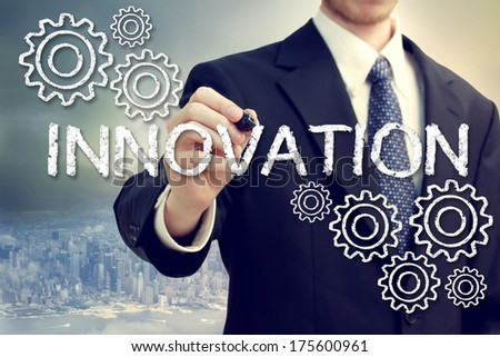 Business Man Drawing Innovation Concept with Gears