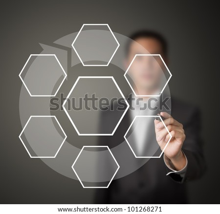 business man drawing one core and six clockwise stage flow component diagram