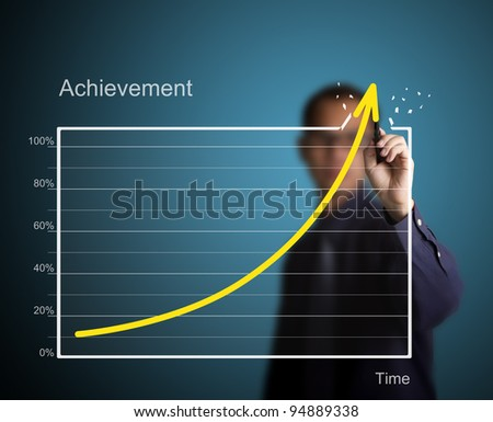 business man drawing over target achievement graph - stock photo