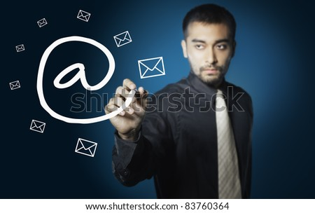 business man drawing social network ,electronic mail