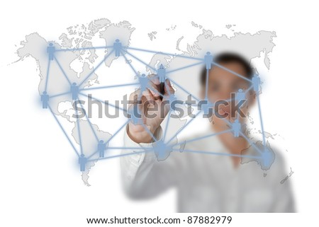 business man drawing social network or business connection with world map on white board