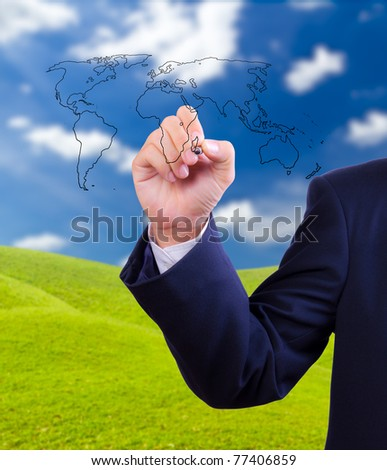 business man drawing  world map