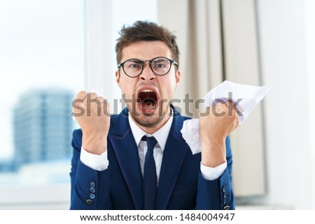 Business man emotions finance perseverance official office