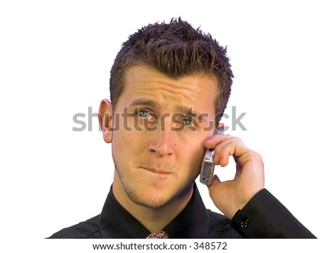 business man expecting bad news on the phone - stock photo